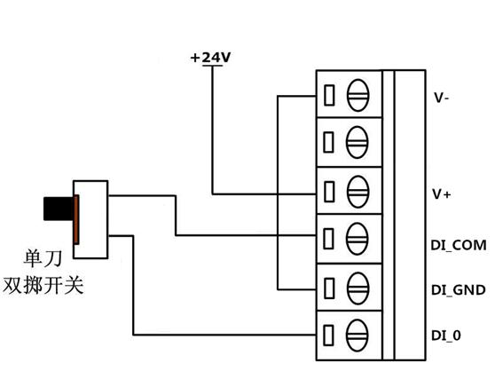 数字量输入的测试电路(干接点)